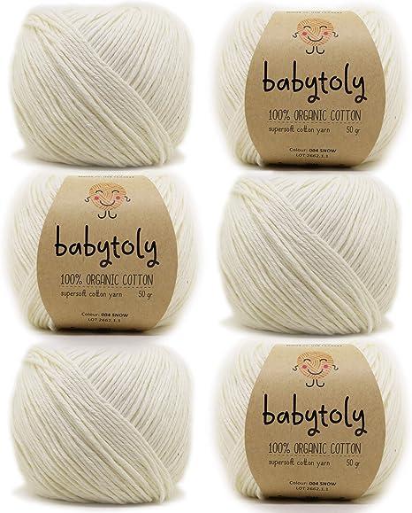 6 madejas 100% algodón orgánico certificado GOTS hilo de tejer cada 1,76 oz (50 g) / 115 años (105m) super suave, puro natural Eco Baby Yarn, algodón orgánico, DK Medium Worsted: Amazon.es: Juguetes y juegos