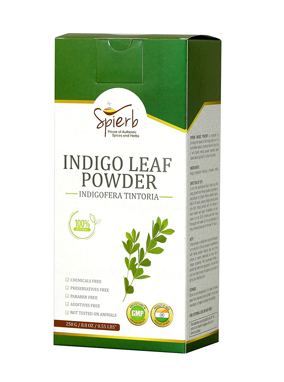 Spierb Indigo Powder for Hair - Use with Henna Powder to Color Hair Black Natural Indigo Powder Hair Dye – 100% Pure Indigofera tinctoria Leaf Powder 250g