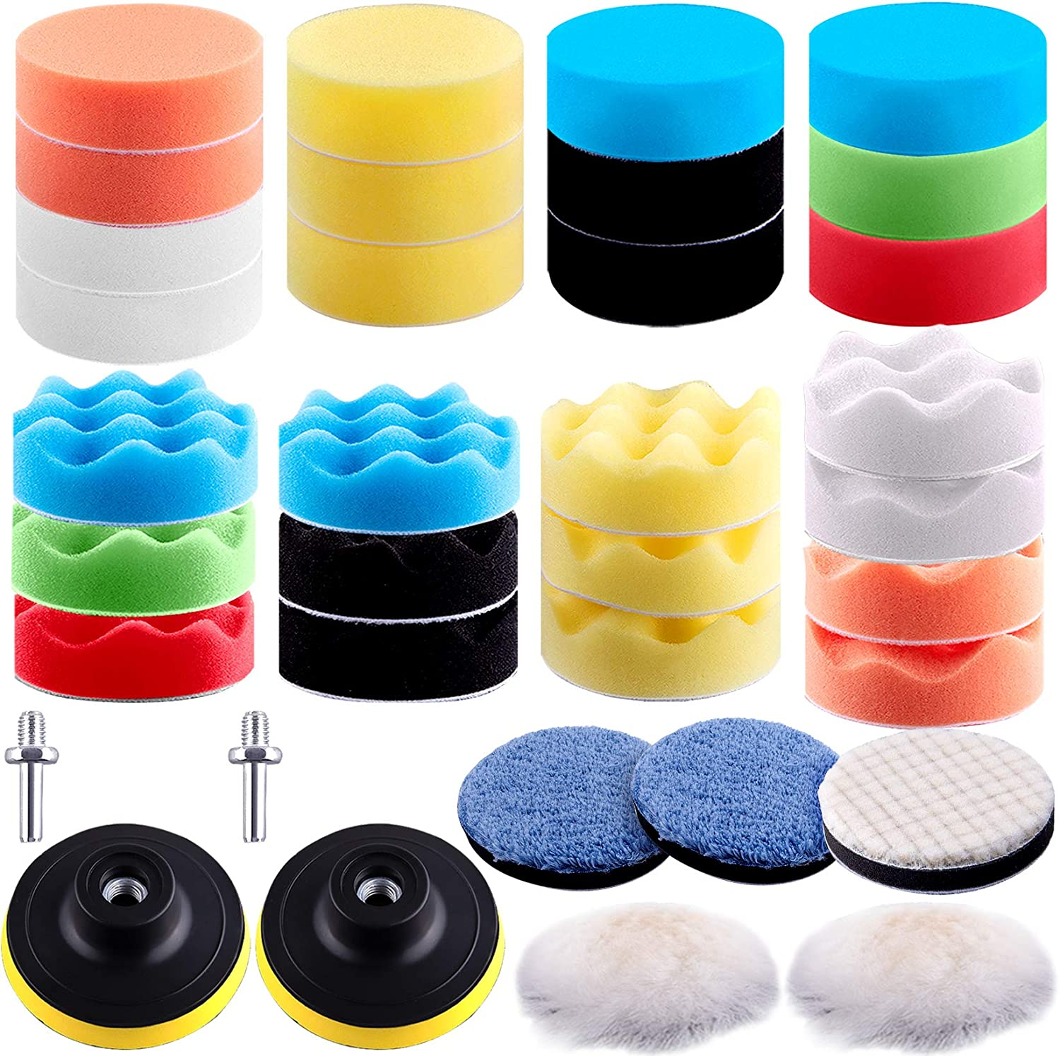 SIQUK 35 Pieces Car Polishing Pad Kit 3 Inch Buffing Pads Foam Polish Pads Polisher Attachment for Drill