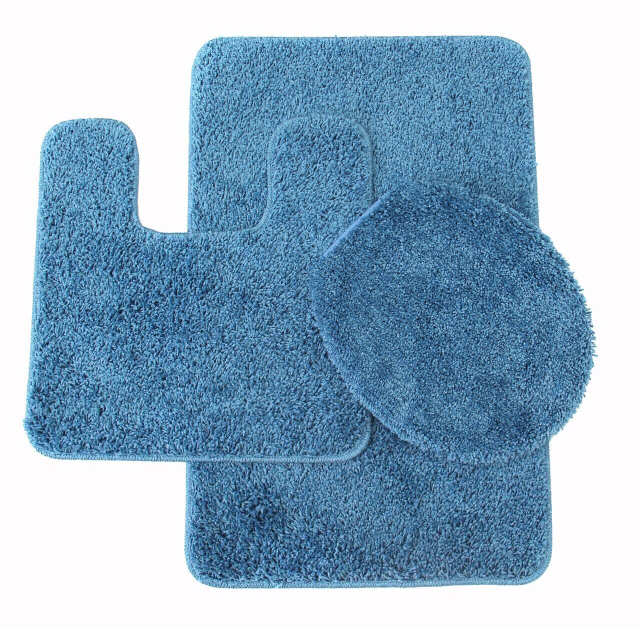 3 Piece Monte Carlo Spa Collection Rug Set Large Mat 20''x''31 Contour 20''x''20 Lid Cover 18''x''19 Inch. (Dusty Blue)