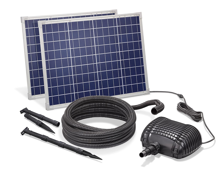 Solar Bachlaufset 100W Solarmodul 5000 l/h Förderleistung 3m Förderhöhe inkl. 5m Schlauch 32mm Bachlaufpumpe esotec pro Komplettset 101970