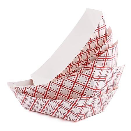Fasmov - Bandeja de papel desechable para servir comida en bote ...