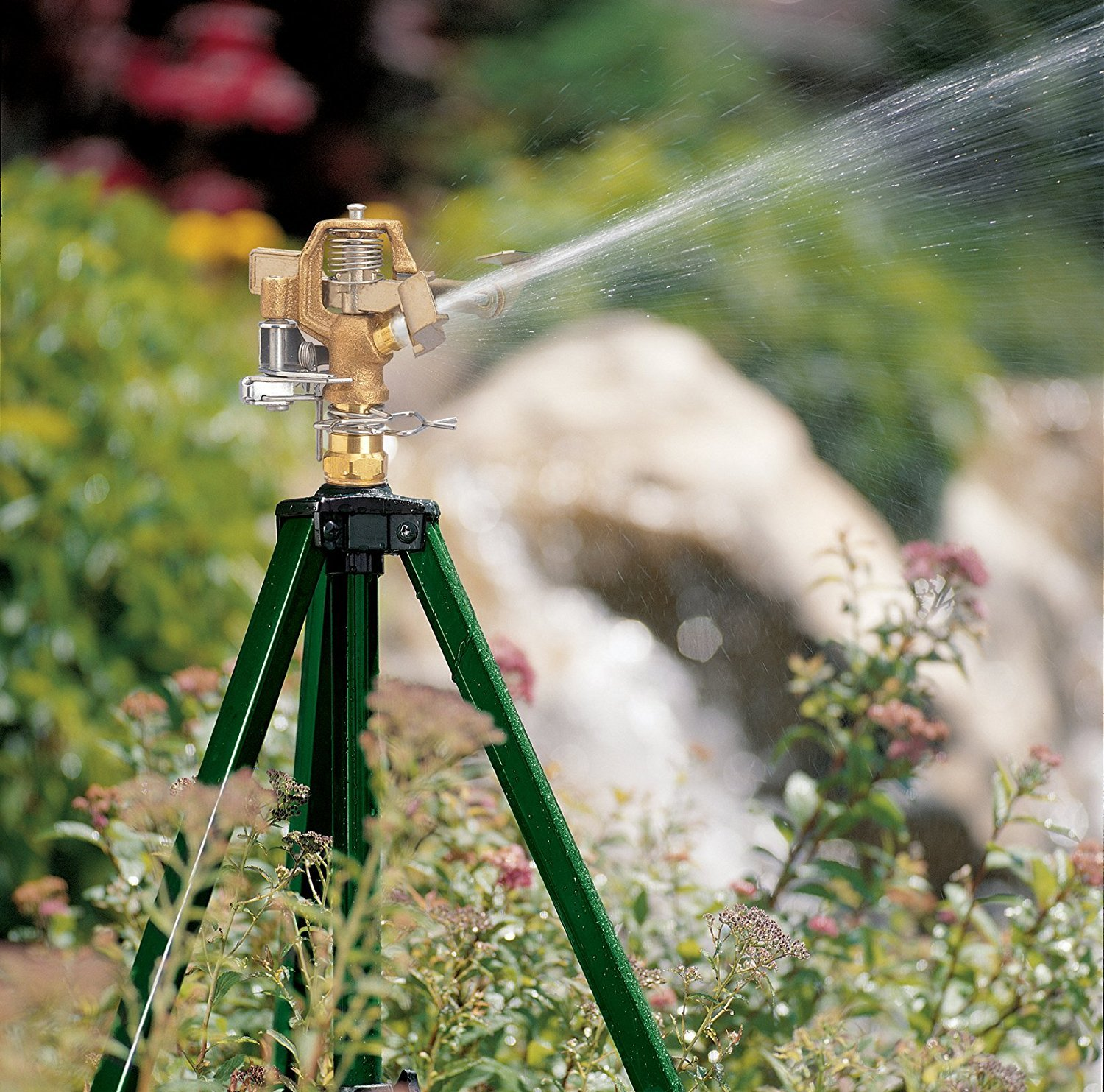 Orbit Heavy Duty Brass Lawn Impact Sprinkler on Tripod Base, Water Yard - 58308D