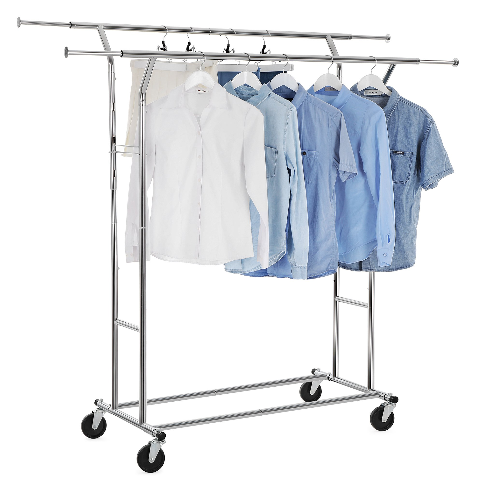 SONGMICS Commercial Grade Double Rail Garment Clothing Rack for Boutiques Rolling Hanging Rack for Clothes Chrome ULLR23C