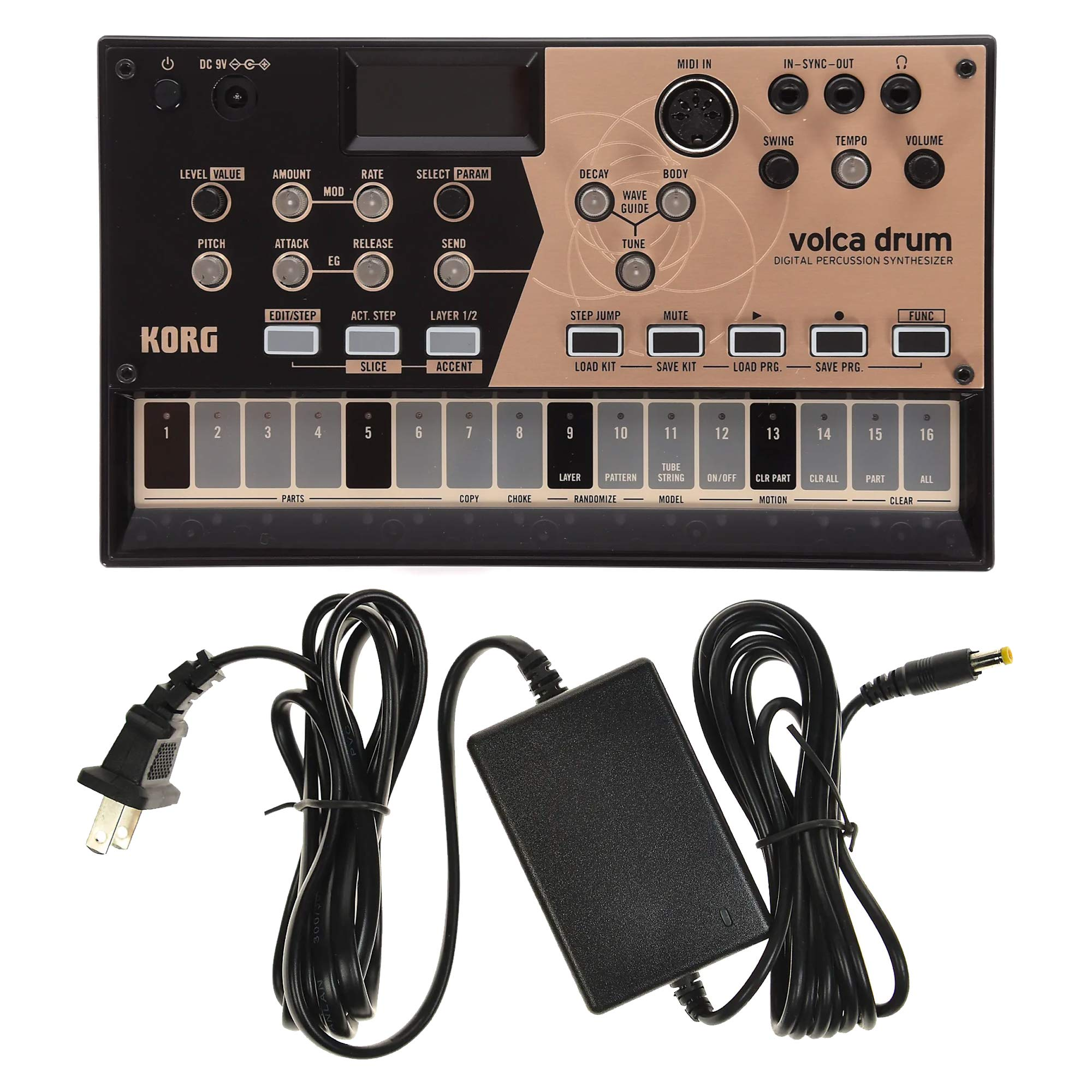 Korg Volca Drum Physical Modeling Drum Synthesizer and Power Supply Bundle