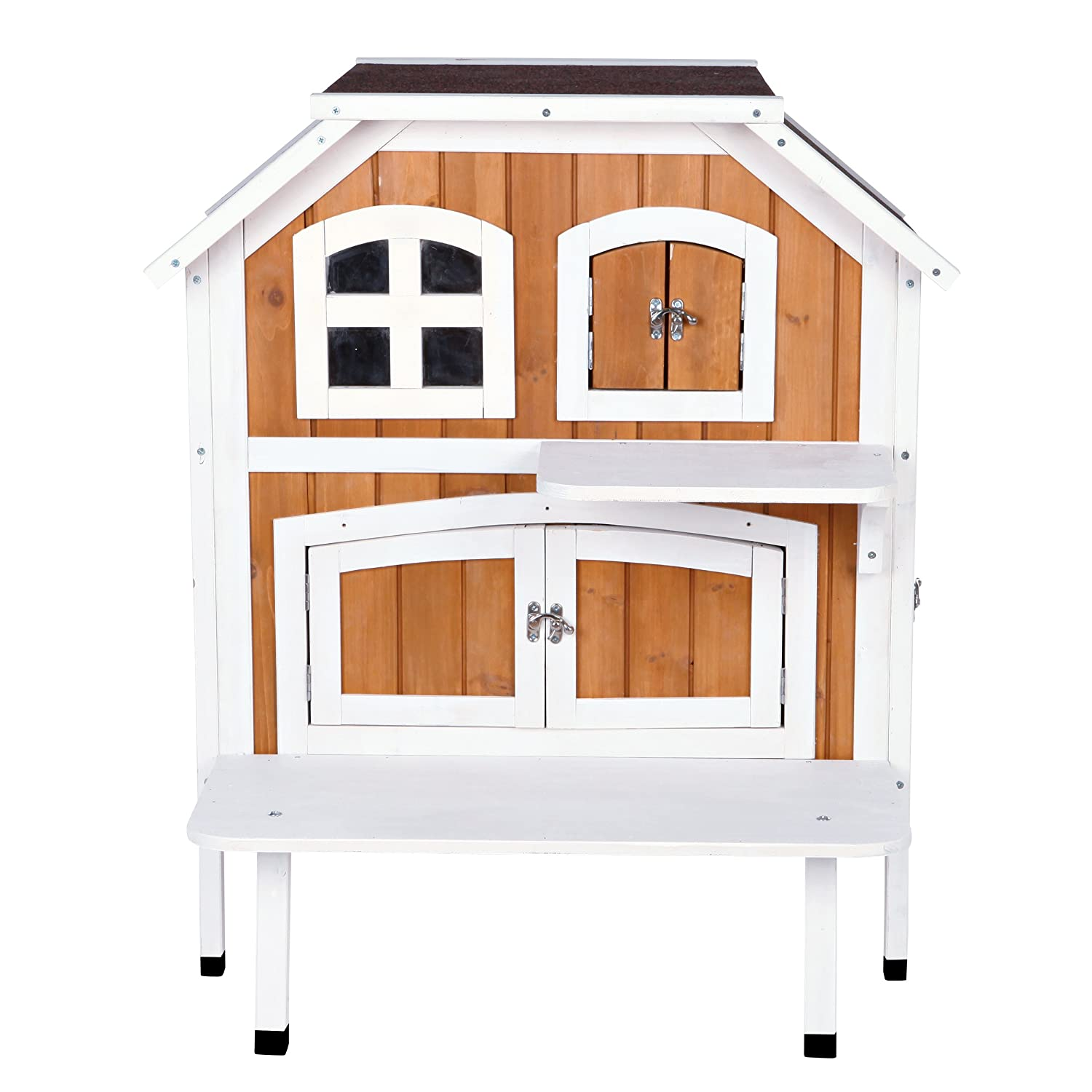 Trixie Pet Products 2-Story Cat Cottage, Brown White