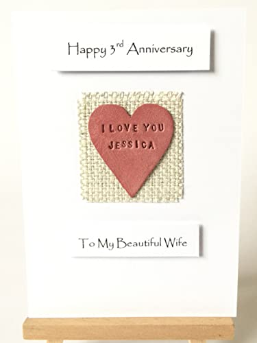 3rd 4th Wedding Anniversary Card Handmade Personalised Leather Heart Made In UK
