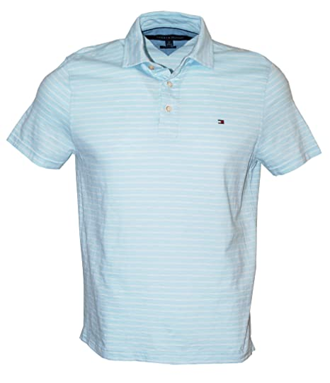 f4be4108 Tommy Hilfiger Men's Classic Fit Striped Short Sleeve Polo Shirt, Blue, S:  Amazon.co.uk: Clothing