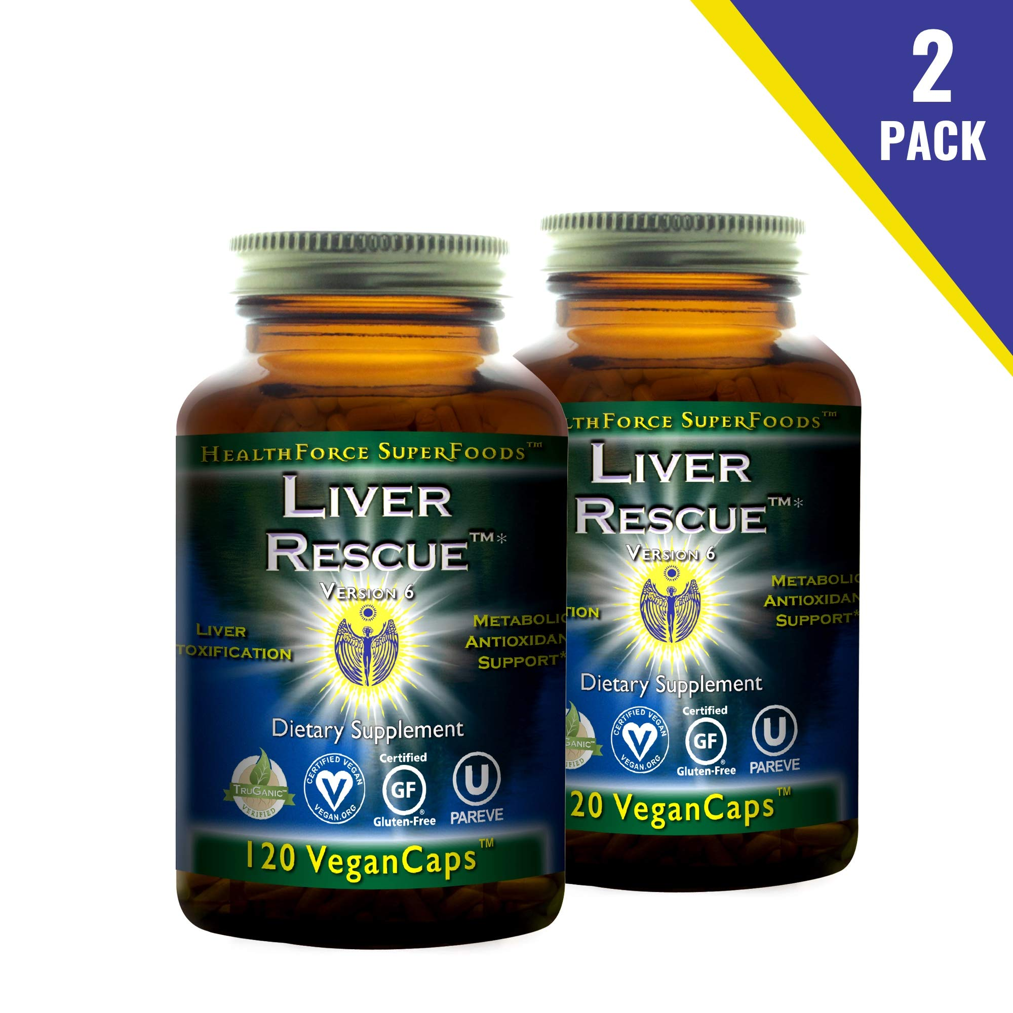 HealthForce SuperFoods Liver Rescue (2 Pack) - 120 Vegan Capsules - All Natural Liver Detoxifier with Milk Thistle & Dandelion Root - Organic, Gluten Free - 120 Total Servings
