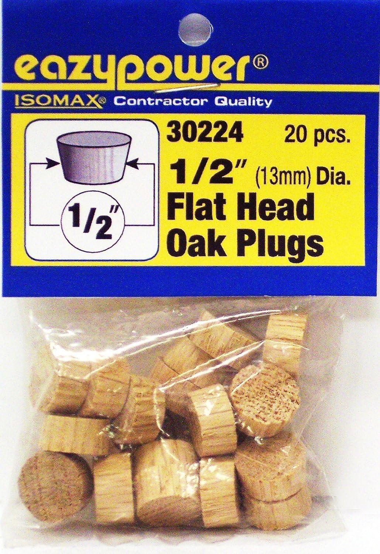 20 Piece Eazypower 30224 1//2 Oak Flat Head Plugs