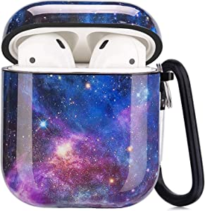 Airpods Case - LitoDream Cute Galaxy Blue Apple Airpods Accessories Protective Hard Case Cover Portable & Shockproof Women Girls Daughter with Keychain for Airpods 2/1 Charging Case (Galaxy Space)
