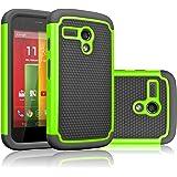 Motorola Moto G Case, Moto G 1st Gen Case, Tekcoo(TM) [Tmajor Series] Shock Absorbing Hybrid Rubber Plastic Impact Defender Rugged Slim Hard Case Cover For Moto G 3G / 4G LTE (Green / Black)