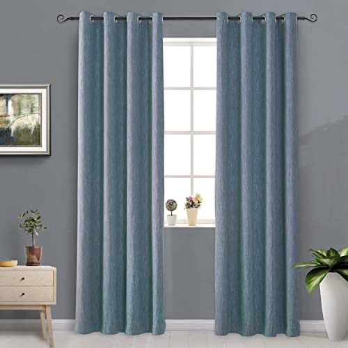 Melodieux Elegant Cotton Blackout Thermal Insulated Grommet Top Curtains/Drape