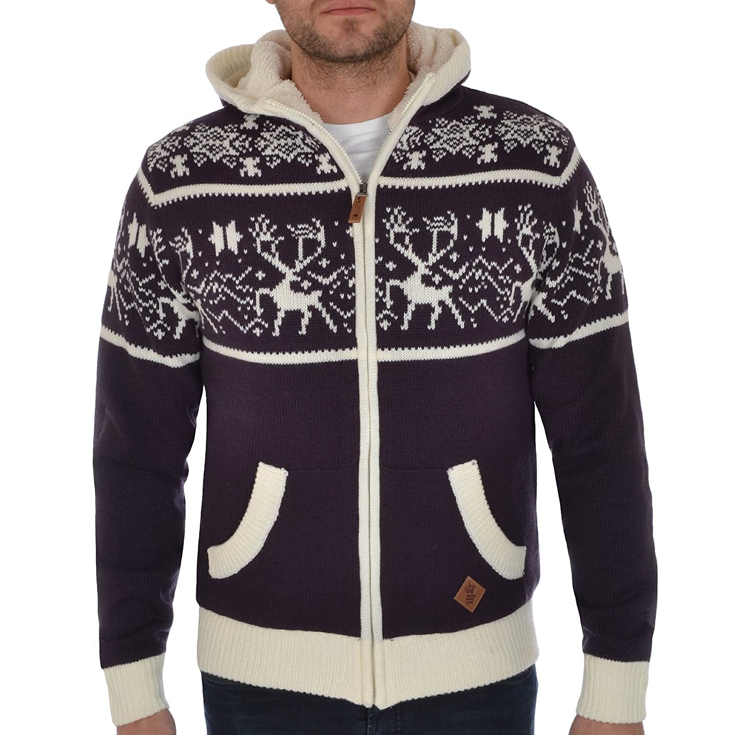 Soul Star Mens Zip up Hooded Christmas Cardigan