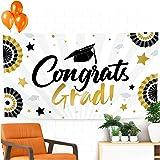 "Graduation Banner 2020 – Graduation Party Supplies 2020 Black and Gold - Extra Large 71"" x 40"" Backdrop – 2020 Congrats Grad Graduation Decorations 2020 Sign Party Decor"