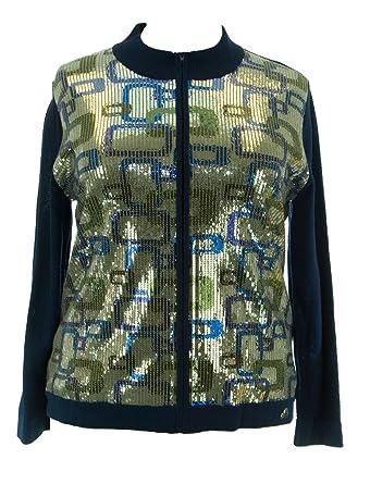 2764e1ecd Marina Rinaldi by MaxMara Macaire Blue Sequin Embellished Sweater M at  Amazon Women's Clothing store: