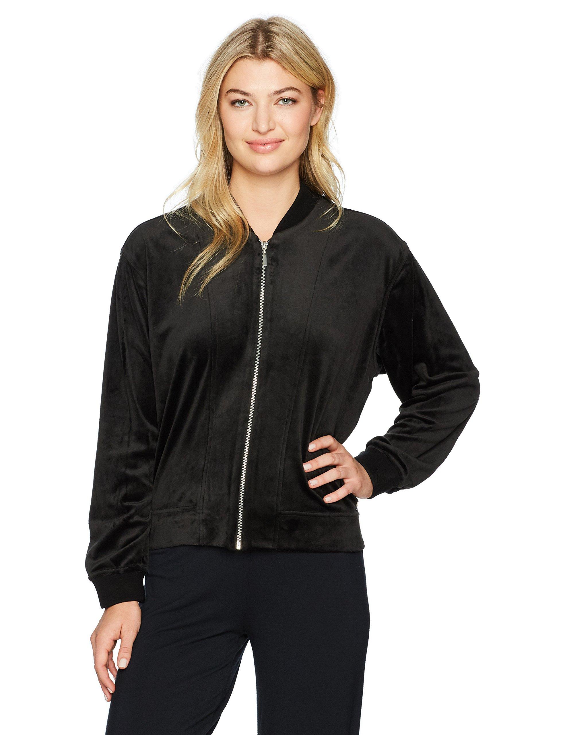 Natori Women's Luxe Velour Jacket, Black, Medium