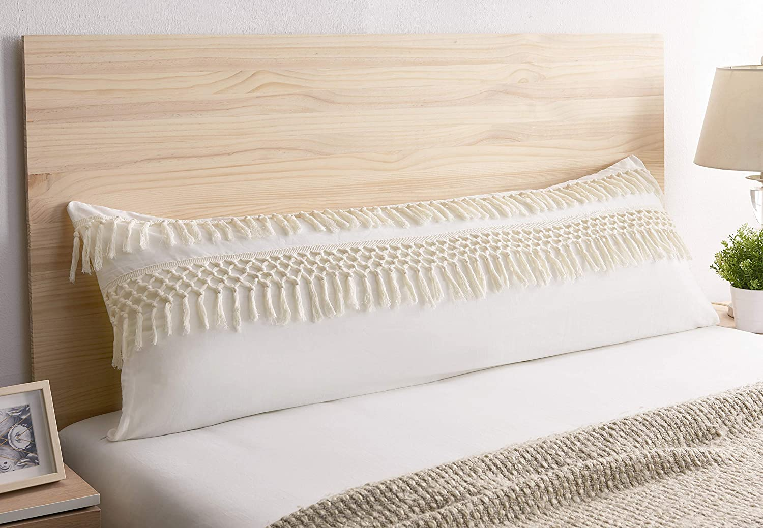 Boho Bohemian Macrame Tassel Ivory accent decorative couch long throw zipper body pillow cover case 54x20 Off White Cream Beige Cotton Fringe Knit Luxury Farmhouse Textured Rustic Tufted Room Decor