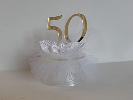Amazon Com 50th Wedding Anniversary Cake Topper Kitchen Dining