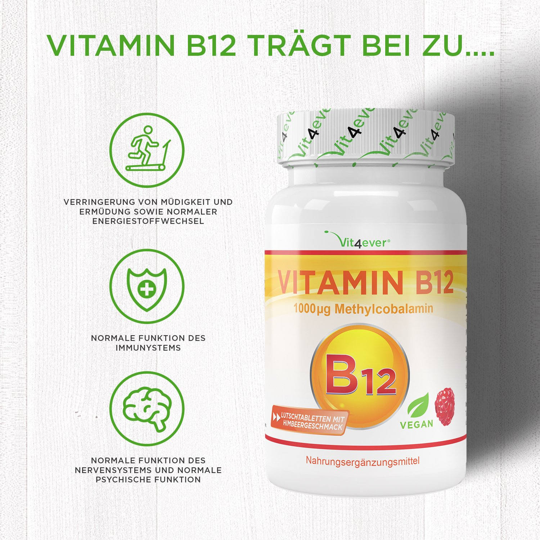 Vitamin B12 1000 µg (mcg), 100 Tabletten, aktives Vitamin B12 als ...