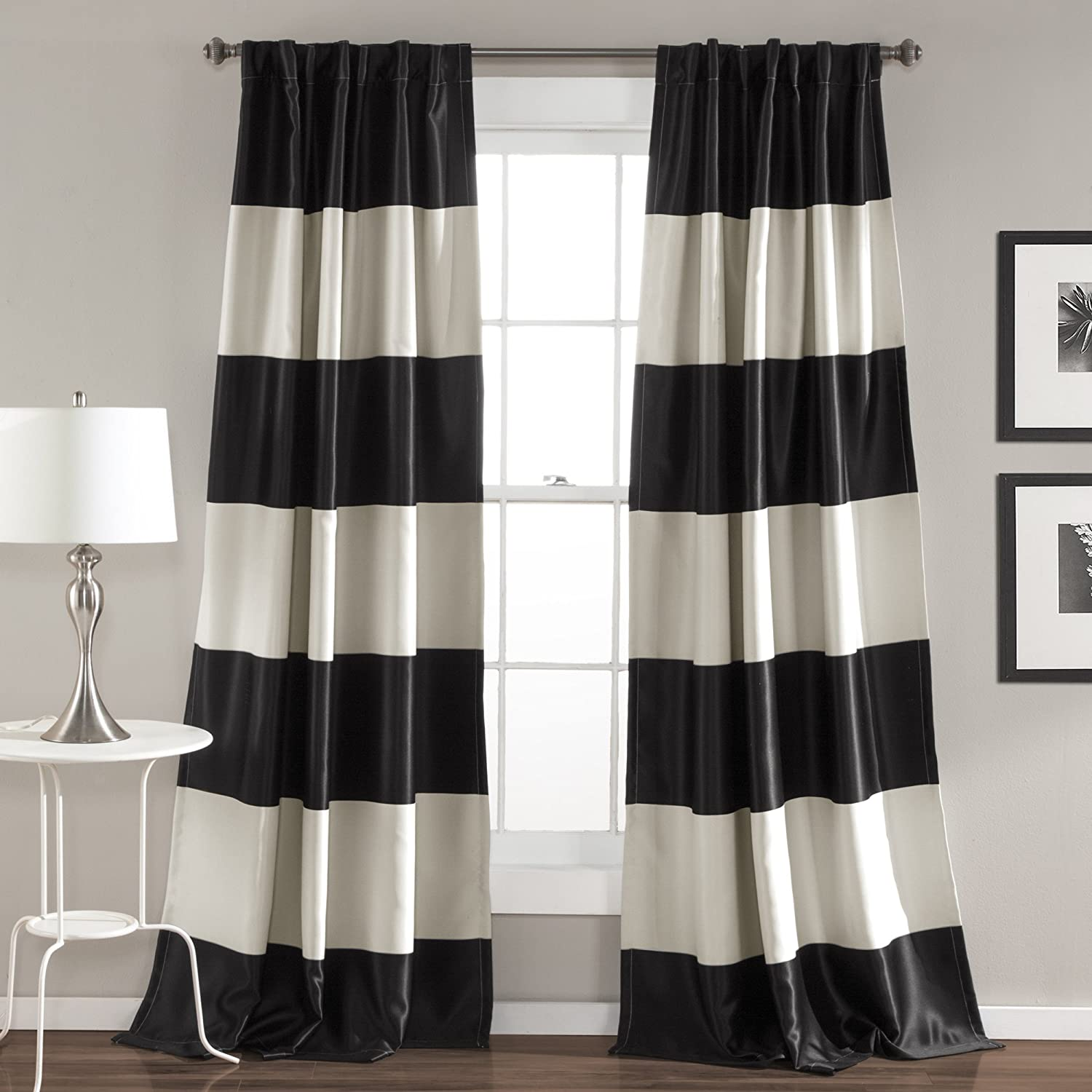 Lush Decor Montego Striped Window Curtains Panel Set For Living Dining Room Bedroom Pair 84 X 52 Black Amazon Ca Home Kitchen