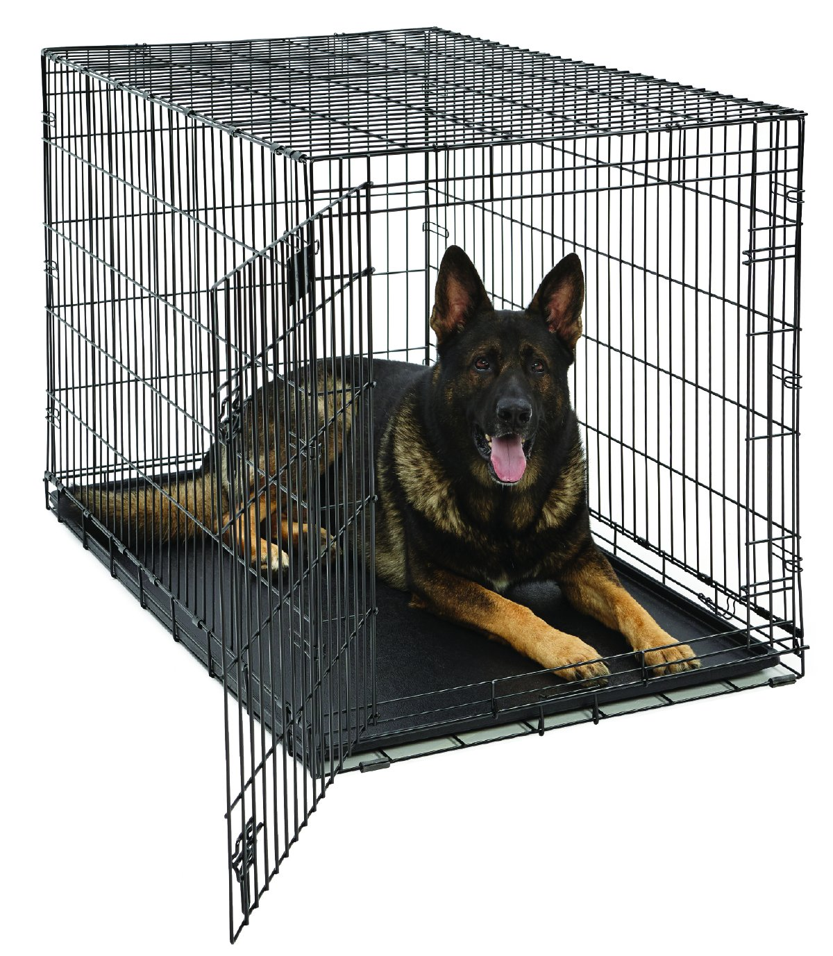 XL Dog Crate   MidWest Life Stages Folding Metal Dog Crate   Divider Panel, Floor Protecting Feet, Leak-Proof Dog Tray   48L x 30W x 33H Inches, XL Dog Breed