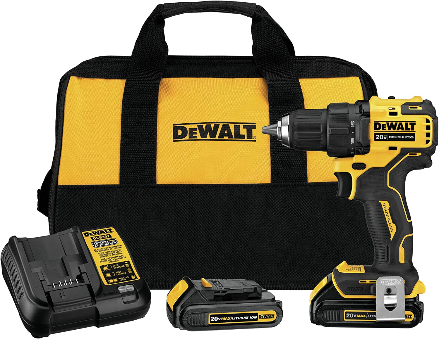DEWALT DCD708C2 Atomic 20V Max Lithium-Ion Brushless Cordless Compact 1 2 In. Drill Driver Kit