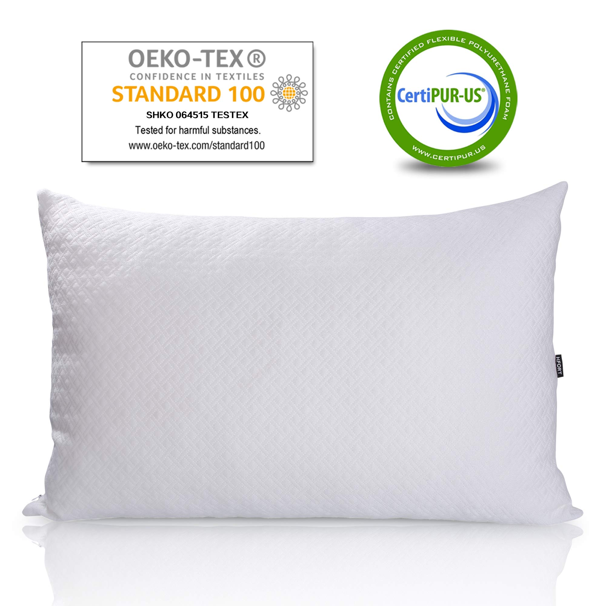HIFORT Shredded Memory Foam Pillow Firm Queen Bed Pillows for Sleeping with Hypoallergenic Removable Bamboo Cover Hotel Quality Adjustable Loft for Stomach Back and Side Sleeper