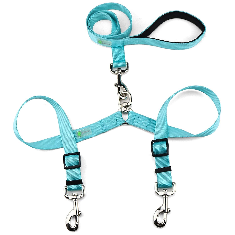 DCbark Tangle Free Double Dog Leash, No Tangle Adjustable Length Lead with Comfortable Padded Handle for 2 Dogs