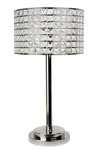 Grandview Gallery 25.75 Polished Nickel Modern Glam Table Lamp with Faceted Genuine Crystal Beaded Metal Drum Shade and Tiered Round Base – Bling Lighting for The Bedroom, Living Room, and Office