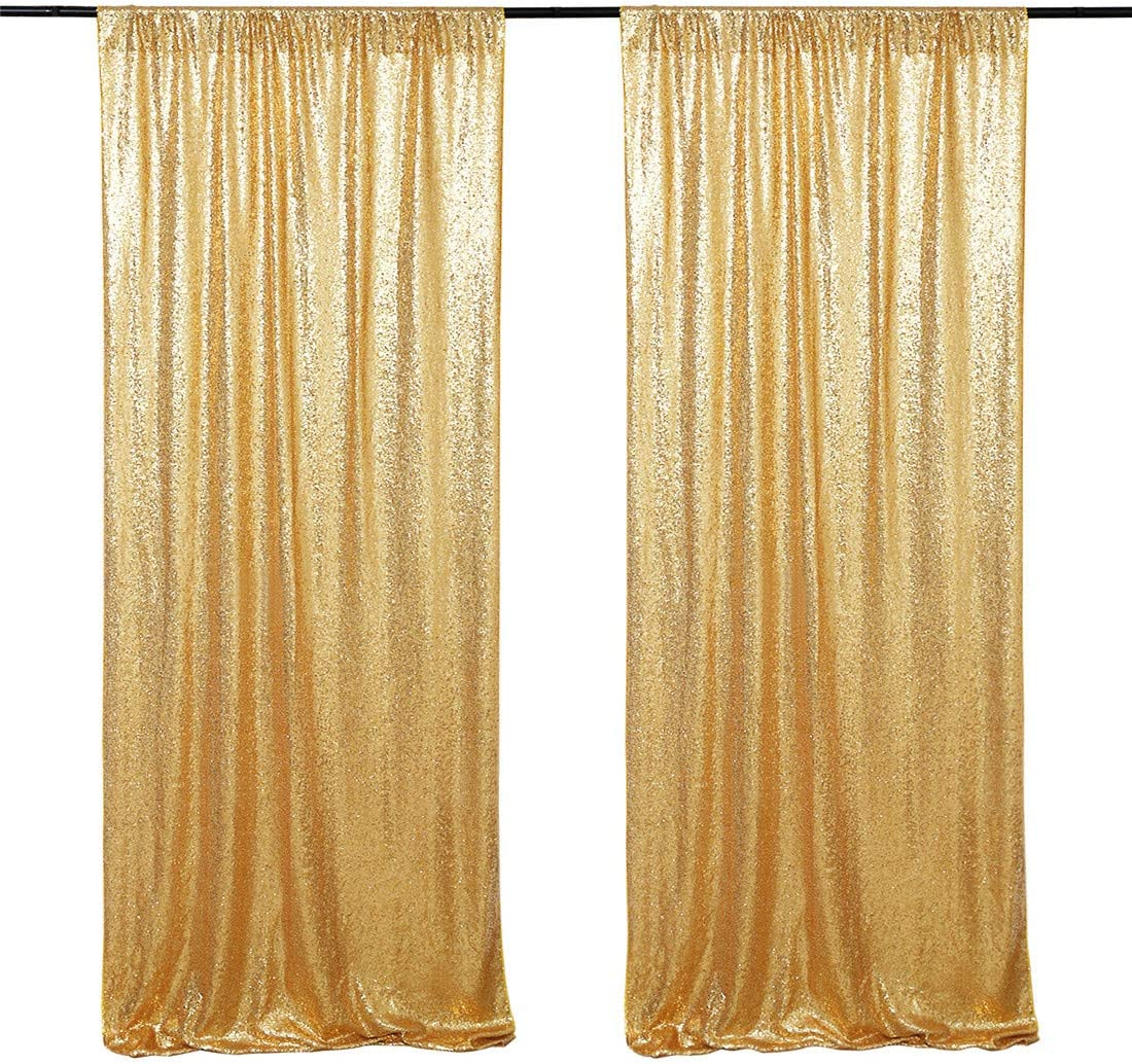 Gold Sequin Backdrop Curtain Panels Stage 2 Pieces 2FTx8FT Wedding Party Background Drapes