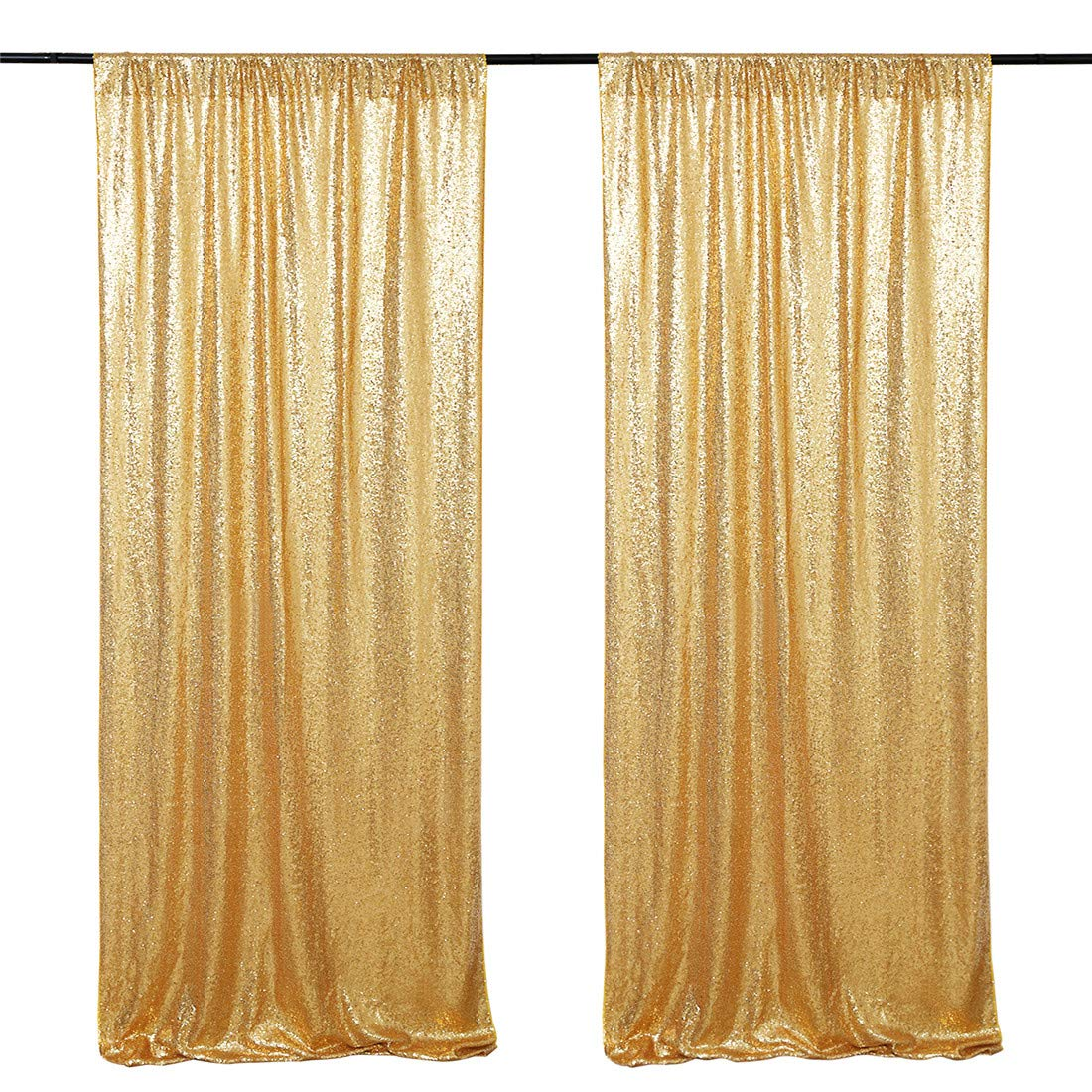 Sequin Backdrop Curtain Panel 2 Pieces 2FTx8FT Gold Sequin Photography Backdrop for Prom Party Wall Background Decoration by B-COOL