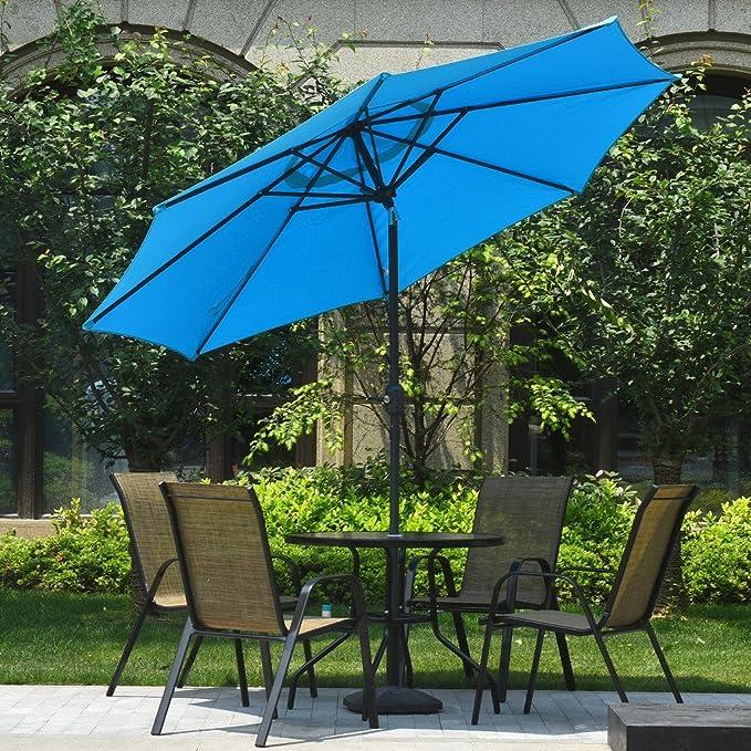 Heng Feng Mercado aluminio Patio Paraguas, 9 ft con inclinación y manivela, 8 varillas, 250G poliéster resistentes al agua y toldo: Amazon.es: Jardín