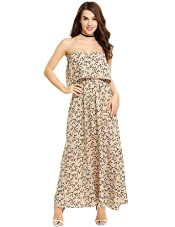 c057eb5929303 Goldenfox Pure Beautiful Cute Long Dresses Without Sleeves Fitted Gowns  Dress (Apricot,Small)