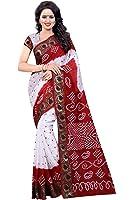 Wedding Villa Women's Cotton Silk Saree With Blouse Piece (Panetar1_3_Red & White)