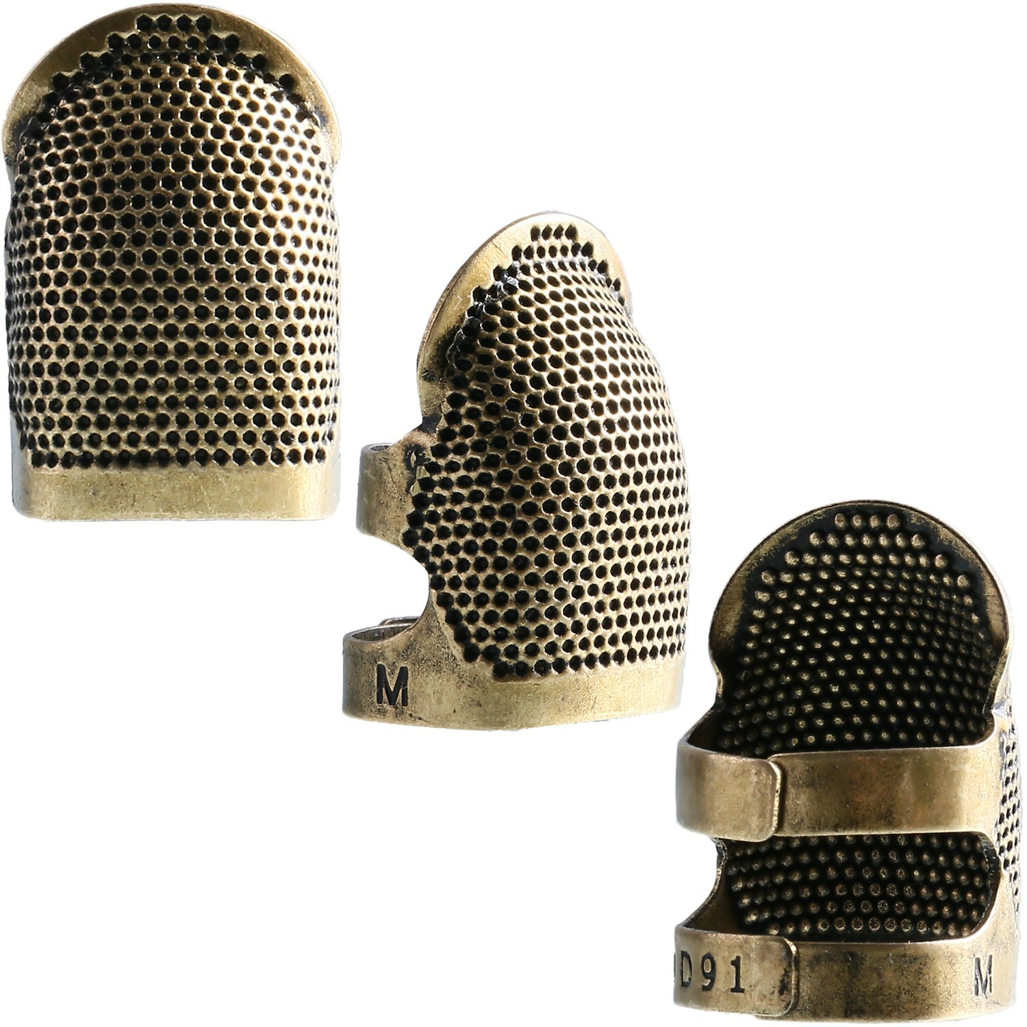 Zhanmai 3 Pieces Copper Finger Protector Thimble Adjustable Fingertip Thimble for Sewing Embroidery Needlework, Medium
