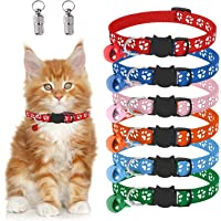 Cat Puppy Identification Collar Pour Chat Breakaway with Name Tag Bell Quick Release Safety Buckle Adjustable Size 19-32…