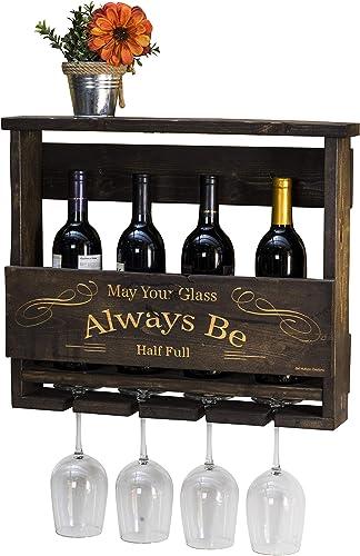 Del Hutson Designs Del Luxe Top Shelf Laser Engraved Wine Rack May Your Glass Always Be Half Full Dark Walnut