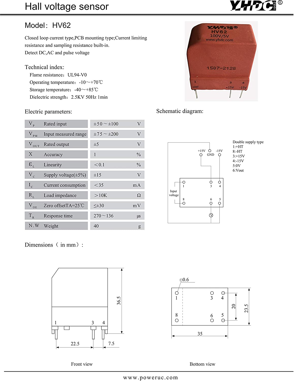 YHDC Sensor Hall de Tension HV62 100V//5V
