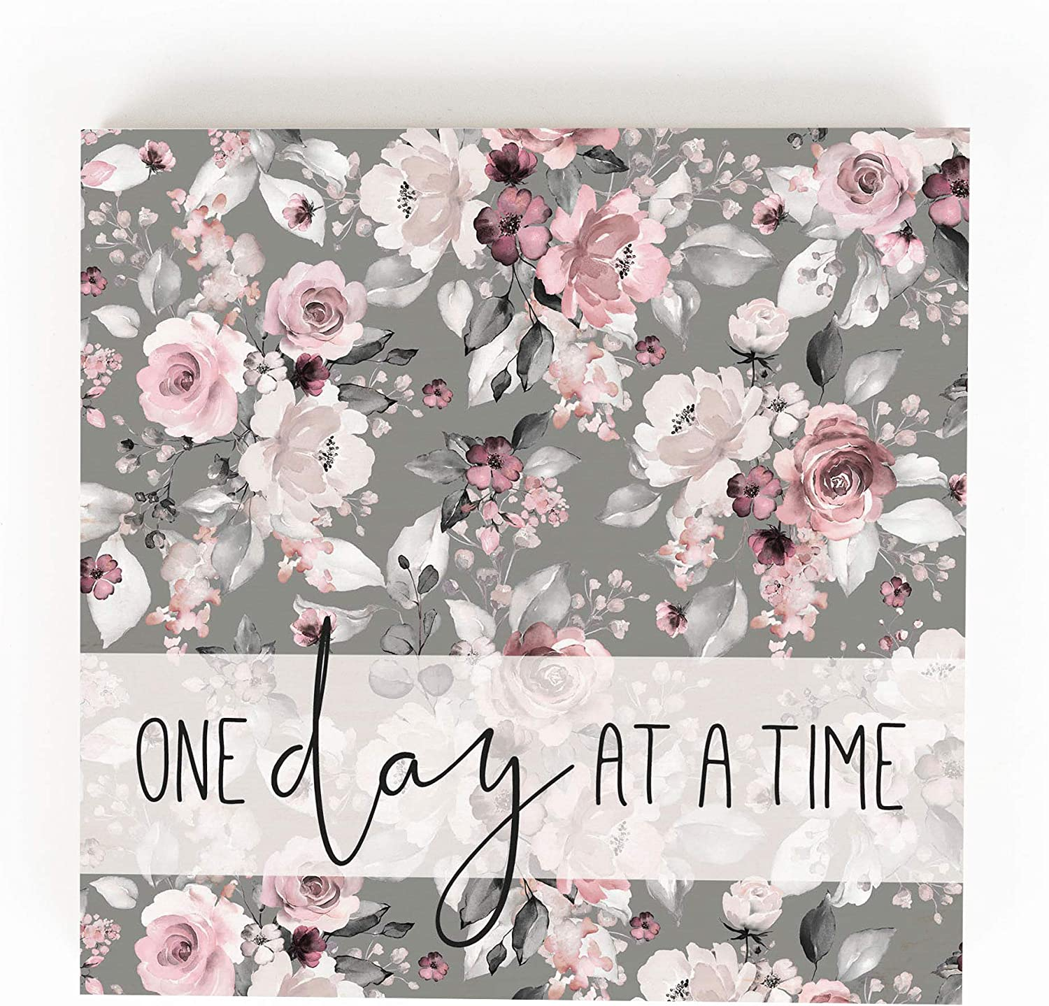 P. Graham Dunn One Day at A Time Pink and Grey Floral 5.38 x 5.38 Pine Wood Word Block Plaque