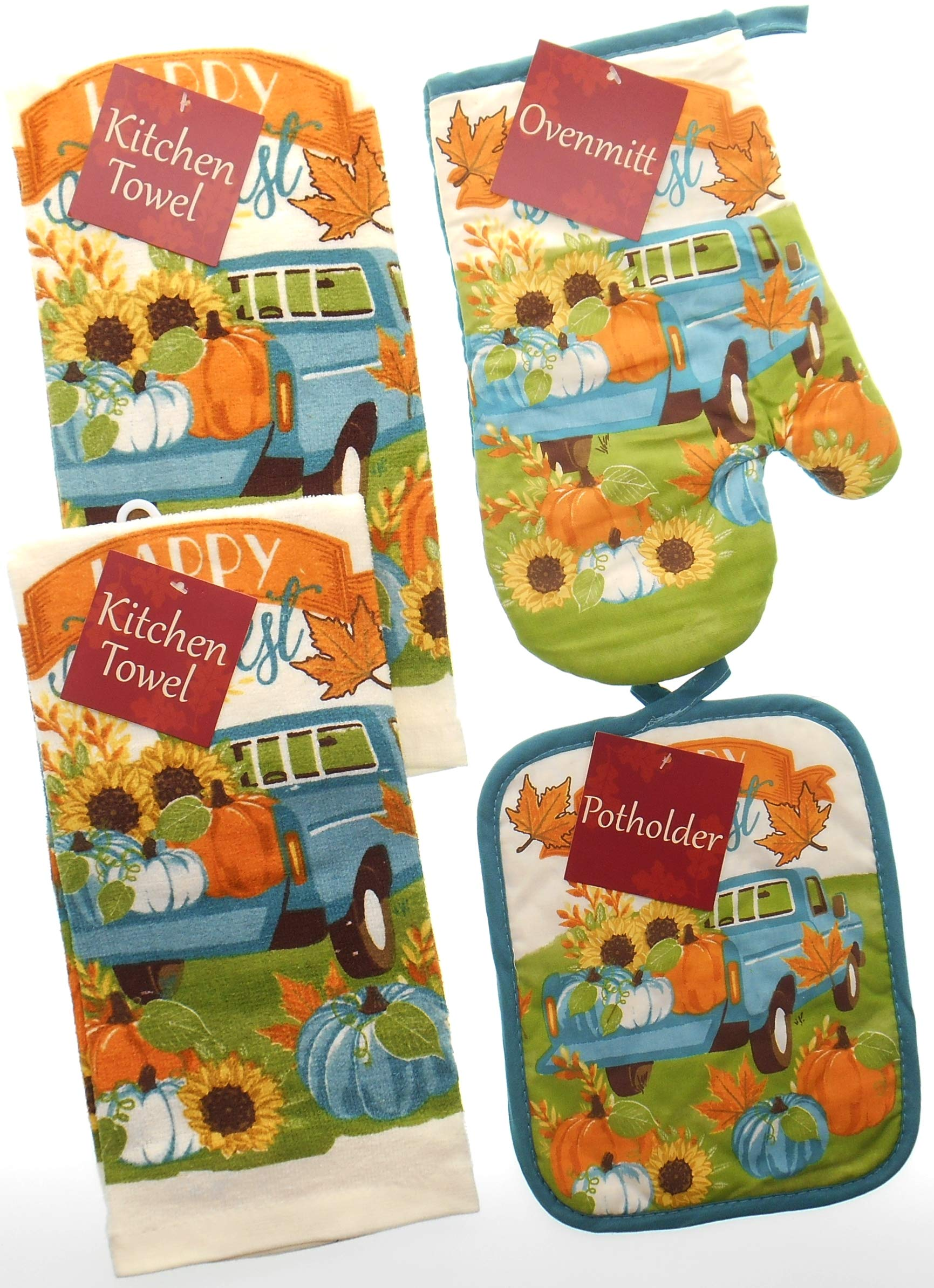 Harvest Happy Picking Kitchen Towel Set. Featuring Pick up Truck. Bundle of 4 Includes 2 Towels, 1 Oven Mitt and 1 Pot Holder. Fall Kitchen Towels Set.