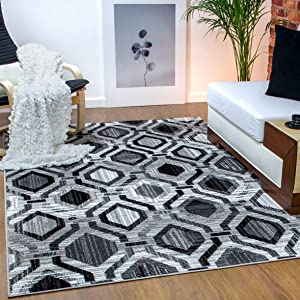Antep Rugs Elite Collection Geometric Contemporary Distressed Indoor Area Rug (Grey, 6'7'' x 9')