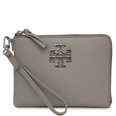 74cfedf5cf9 Tory Burch Britten Large Pebbled Leather Zip Pouch Wristlet (French Gray)