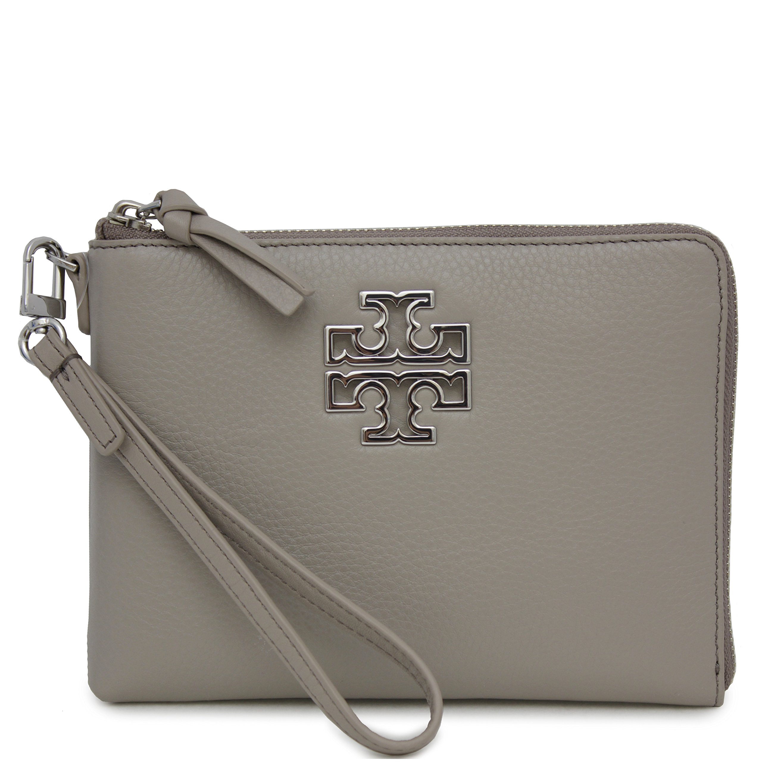 Tory Burch Britten Large Pebbled Leather Zip Pouch Wristlet (French Gray) by Tory Burch