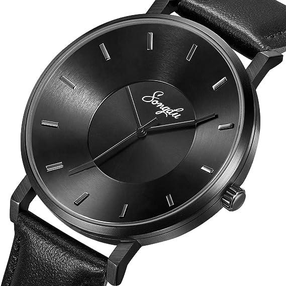 8e255c1bbd4d44 SONGDU Mens Black Minimalist Cool Stainless Steel Analog Dress Quartz Wrist  Watch Metal Waterproof Watch (