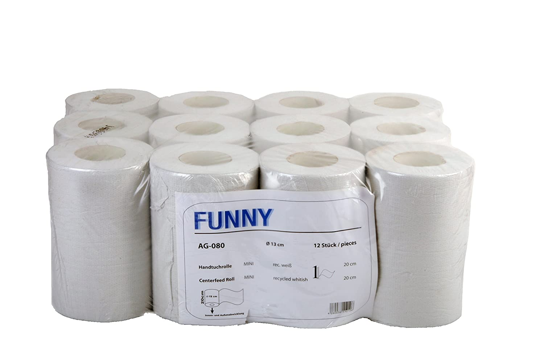bianco 20/cm 12/rotoli Divertente rotolo di carta asciugamano estrazione centrale velo