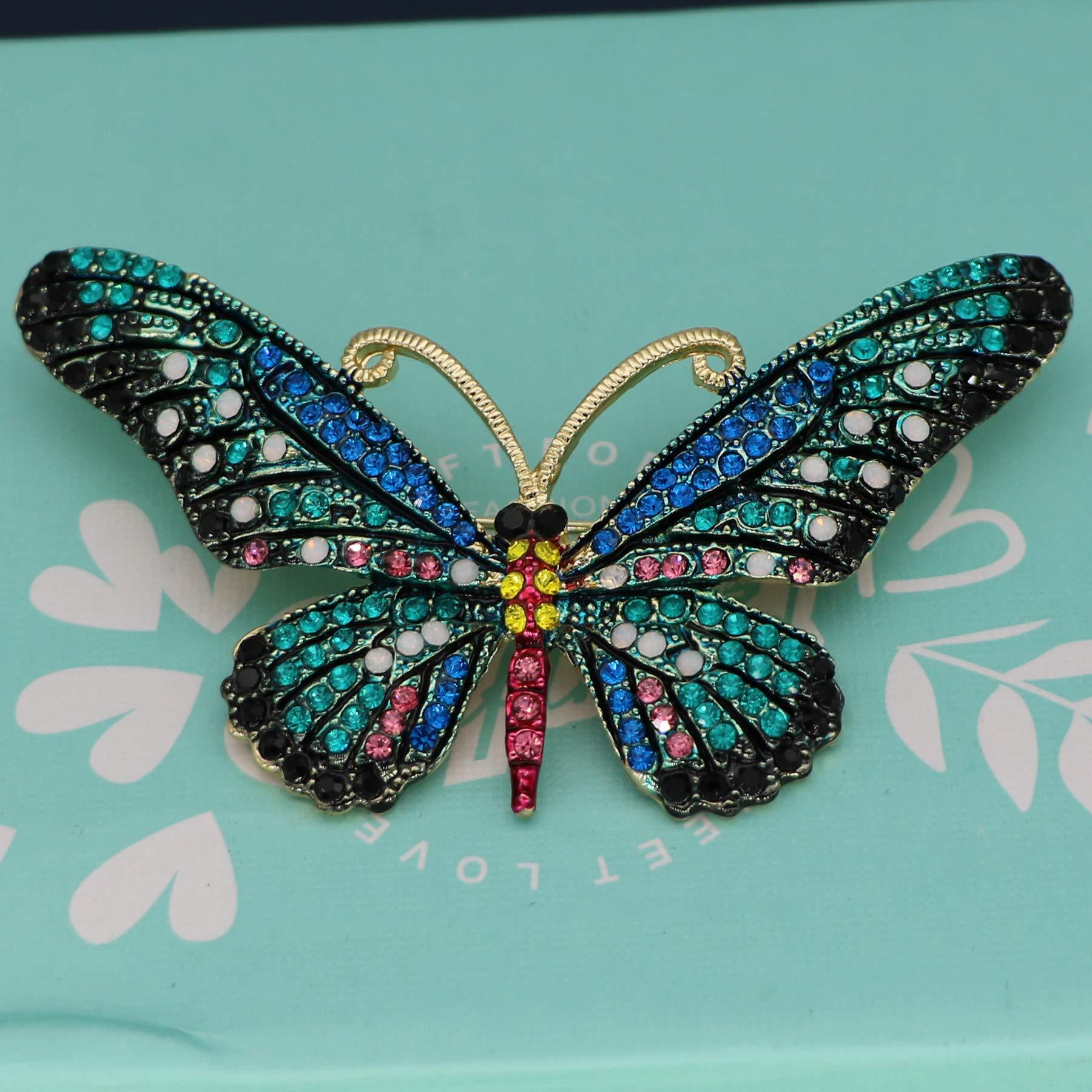 Mondora Prom Brooch Pin Animal Buttwefly Enamel Women's Austrian Crystal Gold-Tone Blue by Mondora (Image #3)