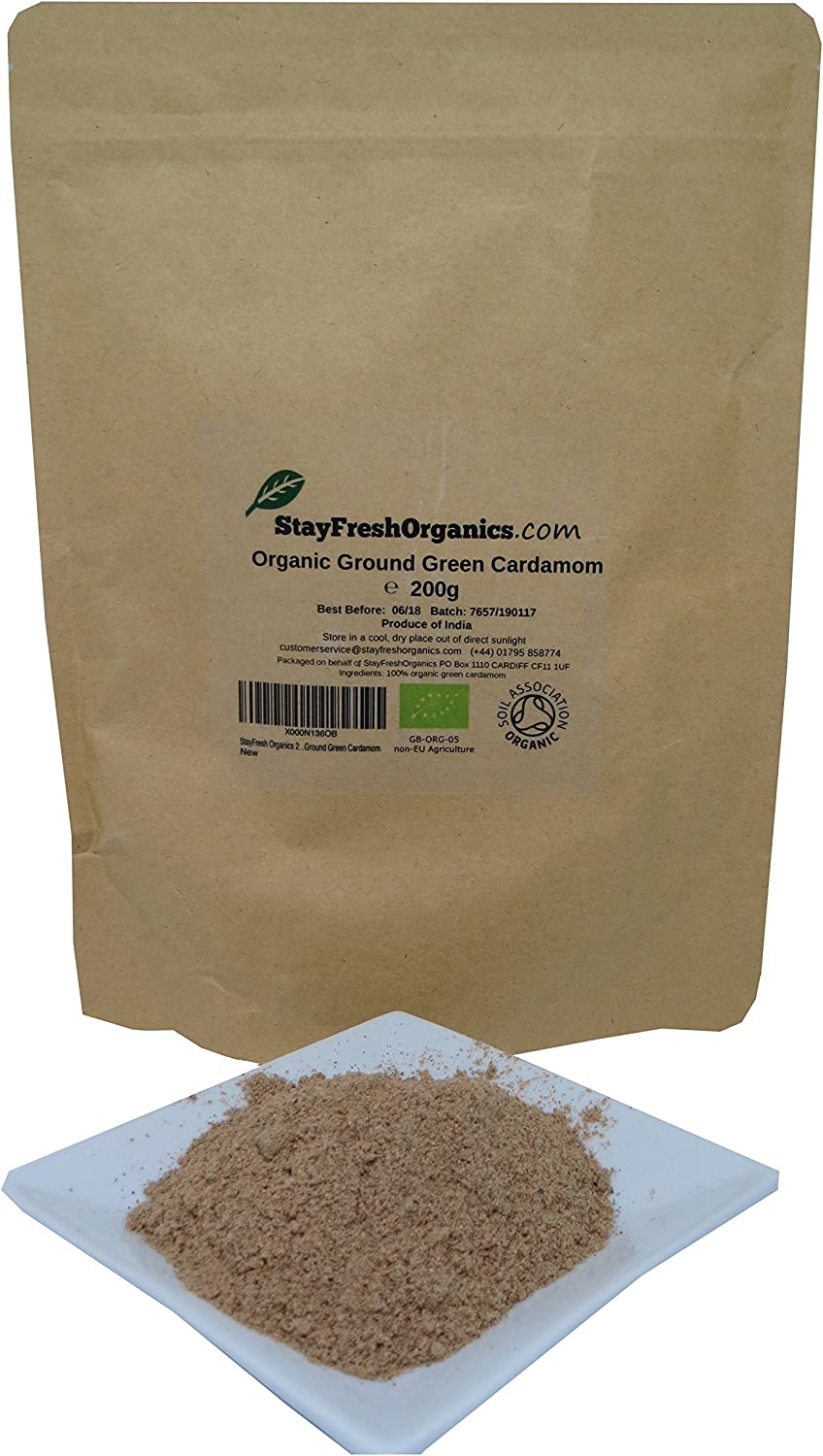 200g Organic Ground Cardamom By Stay Fresh Organics Certified By Soil Association Free Delivery Resealable Pouch Amazon Co Uk Grocery