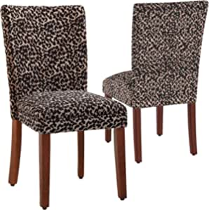 Homepop Parsons Upholstered Accent Dining Chair Set Of 2 Lepord Print Chairs