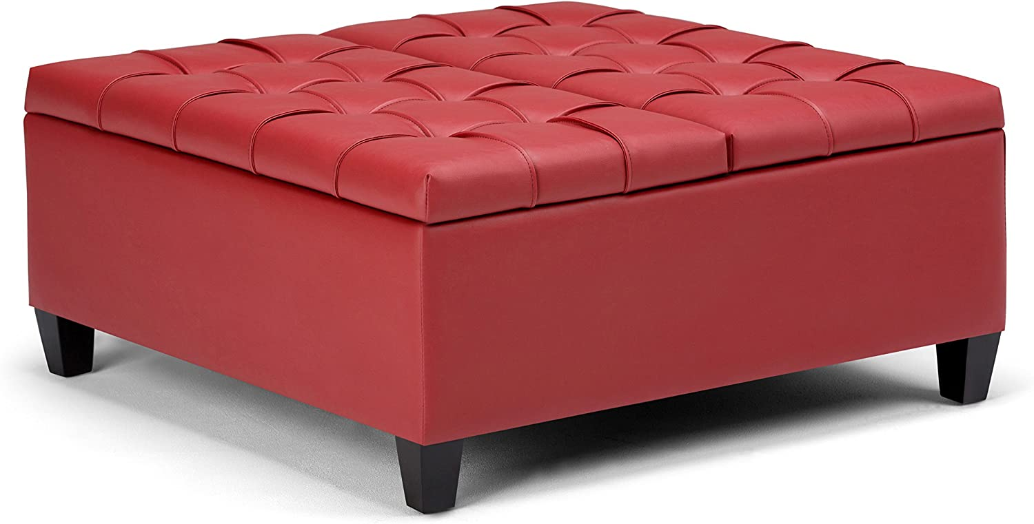 Simpli Home AXCOT-265-RD Harrison 36 inch Wide Traditional Square Storage Ottoman in Crimson Red Faux Leather